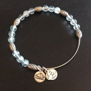 Alex and Ani blue glass and silver bead bracelet